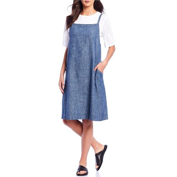 エイリーンフィッシャー レディース ワンピース Pockets トップス Chambray Sleeveless レディース ワンピース Square Neck Shift Dress with Pockets Denim, 諌早市:bda040df --- officewill.xsrv.jp