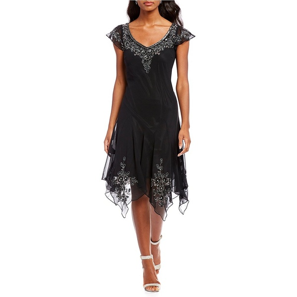 ジェイカラ レディース Applique Beaded ワンピース トップス Cap Dress Sleeve Beaded Applique Dress Black/Mercury/Silver, 激安通販の:232ec0c4 --- rods.org.uk