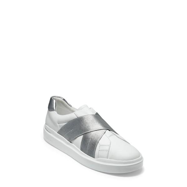 コールハーン レディース スニーカー シューズ GrandPro Rally Slip-On Sneaker White/ Silver Leather