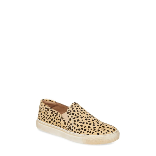 ショコラブルー レディース スニーカー シューズ Noella Slip-On Genuine Calf Hair Sneaker Tan Leopard Calf Hair