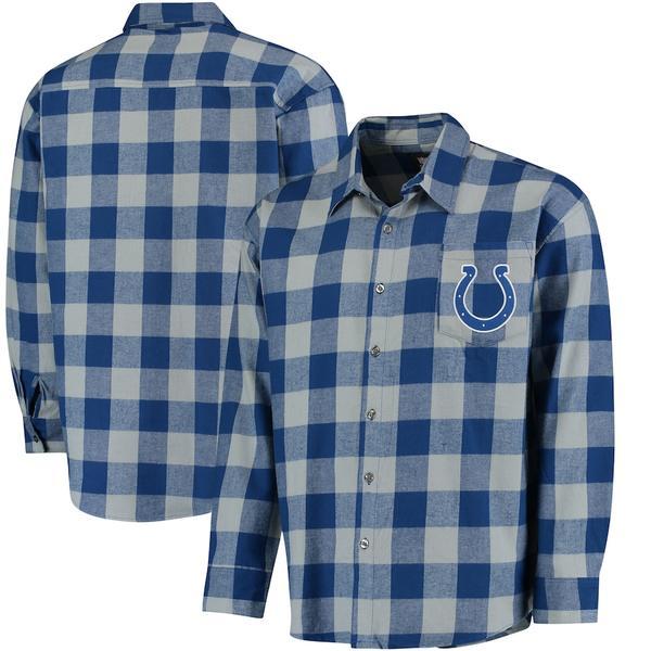 フォコ メンズ シャツ トップス Indianapolis Colts Klew Large Check Flannel Button-Up Shirt Royal