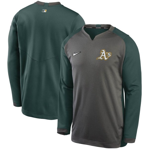 ナイキ メンズ パーカー・スウェットシャツ アウター Oakland Athletics Nike Authentic Collection Thermal Crew Performance Pullover Sweatshirt Charcoal/Green:asty