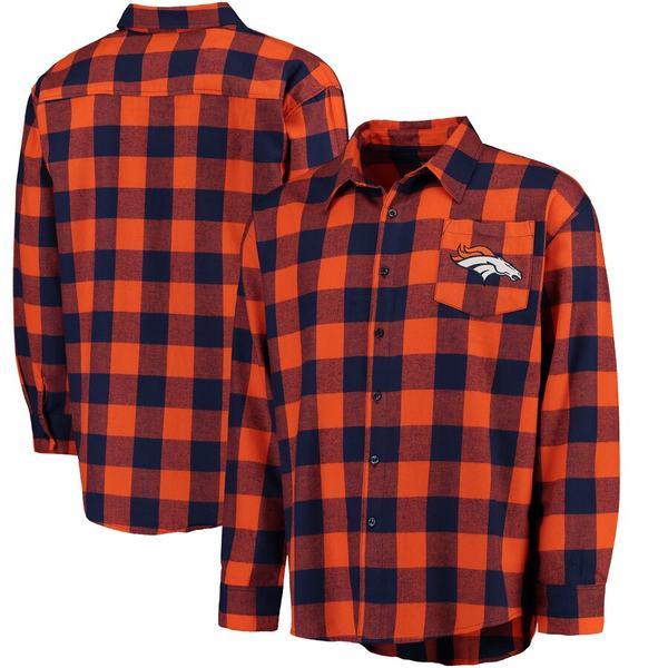 フォコ メンズ シャツ トップス Denver Broncos Klew Large Check Flannel Button-Up Shirt Orange