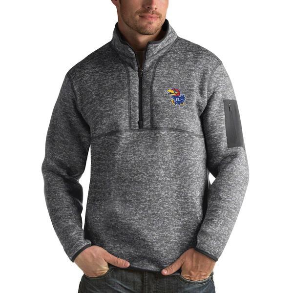 アンティグア メンズ ジャケット&ブルゾン アウター Kansas Jayhawks Antigua Fortune 1/2-Zip Pullover Sweater Heathered Charcoal
