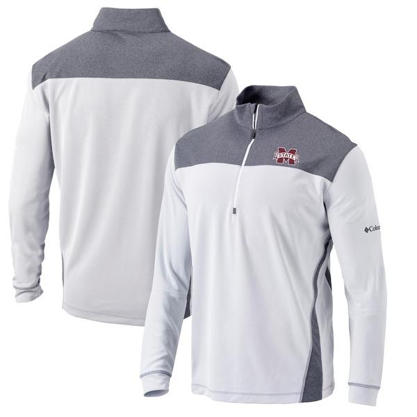 コロンビア メンズ ジャケット&ブルゾン アウター Mississippi State Bulldogs Columbia Omni-Wick Standard Quarter-Zip Pullover Jacket White