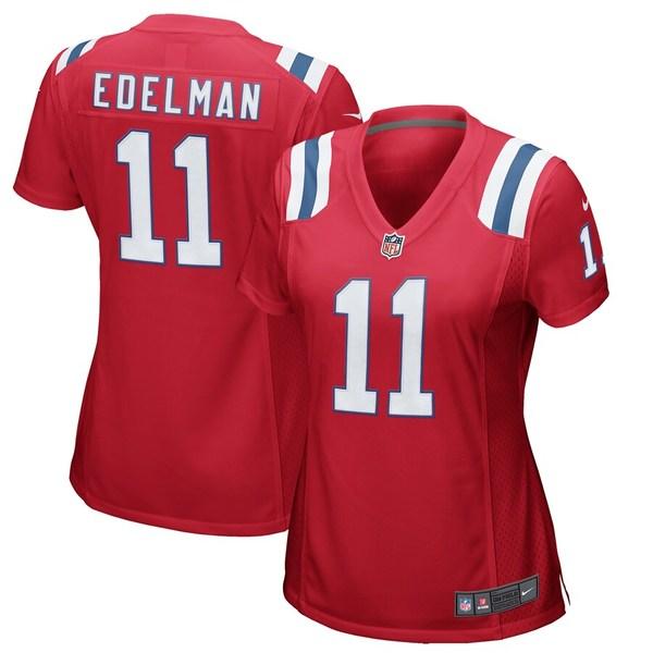 ナイキ レディース シャツ トップス Julian Edelman New England Patriots Nike Women's Alternate Game Jersey Red