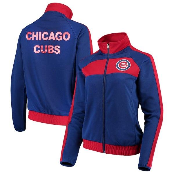 カールバンクス レディース ジャケット&ブルゾン アウター Chicago Cubs G-III 4Her by Carl Banks Women's Punt Track Jacket Royal/Red