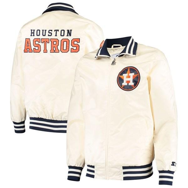 スターター メンズ ジャケット&ブルゾン アウター Houston Astros Starter The Captain II Full-Zip Jacket Cream