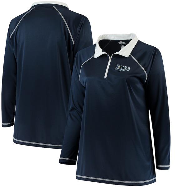 マジェスティック レディース ジャケット&ブルゾン アウター Tampa Bay Rays Majestic Women's Plus Size Quarter-Zip Pullover Jacket Navy
