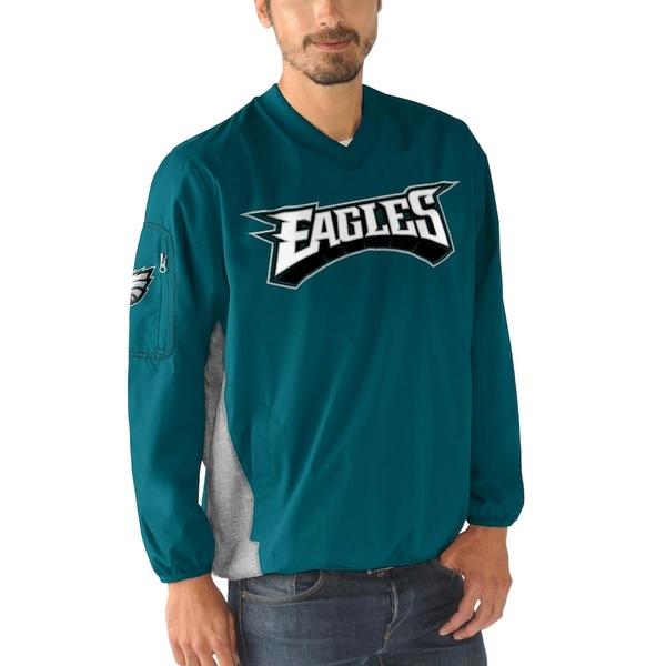 カールバンクス メンズ ジャケット&ブルゾン アウター Philadelphia Eagles G-III Sports by Carl Banks Gridiron V-Neck Pullover Sweatshirt Midnight Green