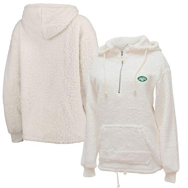 ニューエラ レディース ジャケット&ブルゾン アウター New York Jets New Era Women's Sherpa Quarter-Zip Pullover Hoodie Cream