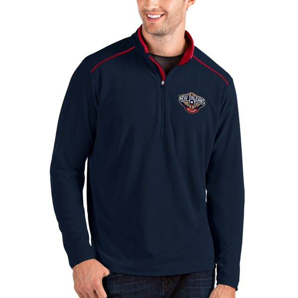 アンティグア メンズ ジャケット&ブルゾン アウター New Orleans Pelicans Antigua Big & Tall Glacier Quarter-Zip Pullover Jacket Navy/Red