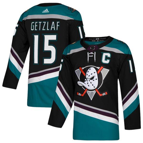 アディダス メンズ シャツ トップス Ryan Getzlaf Anaheim Ducks adidas Alternate Authentic Player Jersey Black/Teal