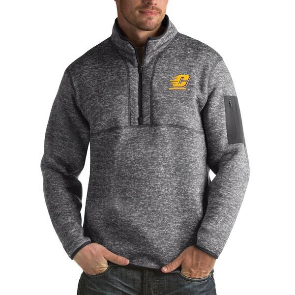 アンティグア メンズ ジャケット&ブルゾン アウター Cent. Michigan Chippewas Antigua Fortune Big & Tall Quarter-Zip Pullover Jacket Charcoal