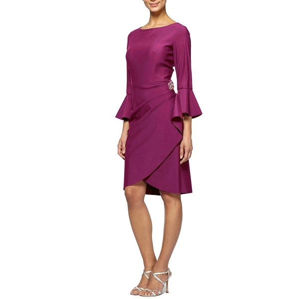 アレックスイブニングス レディース ワンピース トップス Bell-Sleeve Stretch Jersey Sheath Dress Passion