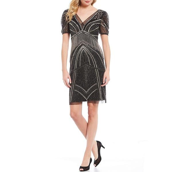 アドリアナ パペル レディース ワンピース トップス Puff Sleeve Sequin Sheath Dress Black/Mercury