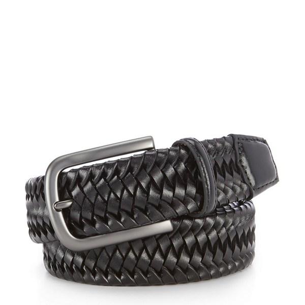 クレミュ メンズ ベルト アクセサリー Stretch Braid Leather Belt Black