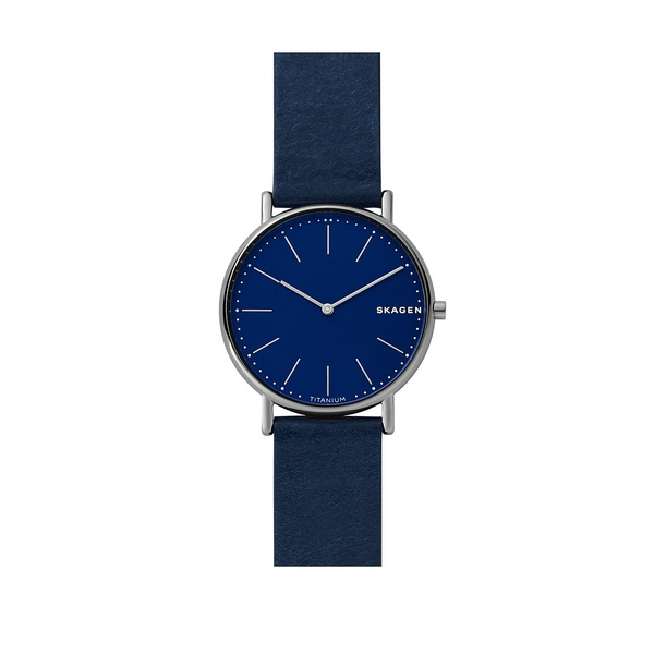 スカーゲン メンズ 腕時計 アクセサリー Signatur Slim Titanium and Leather-Strap Watch Blue