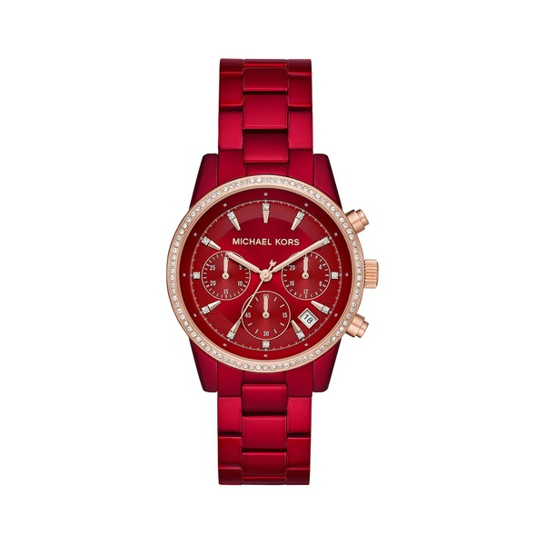 マイケルコース レディース 腕時計 アクセサリー Ritz Two-Tone Stainless Steel & Crystal Bracelet Chronograph Watch Red