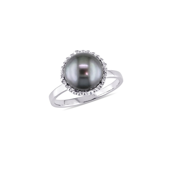 ソナティナ レディース リング アクセサリー Black Tahitian Cultured Pearl, Diamond and 14k White Gold Cocktail Ring White Gold