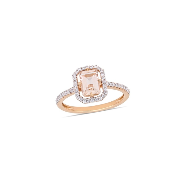 ソナティナ レディース リング アクセサリー 14K Rose Gold, 0.25 TCW Diamond & Morganite Solitaire Ring Rose Gold