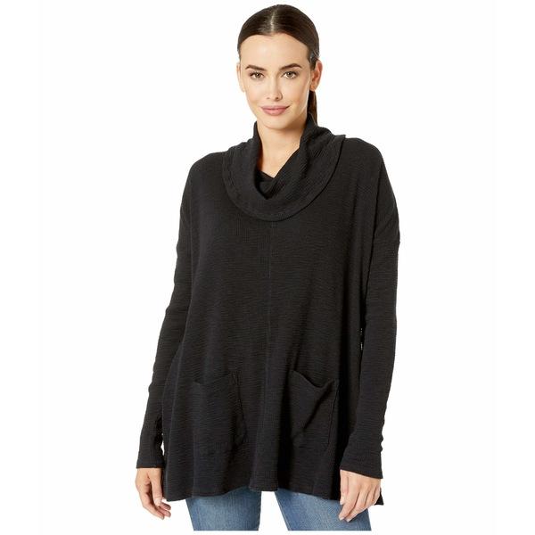 モッドドック レディース ニット&セーター アウター Vintage Slub Thermal Long Sleeve Swingy Cowl Neck Pullover Black