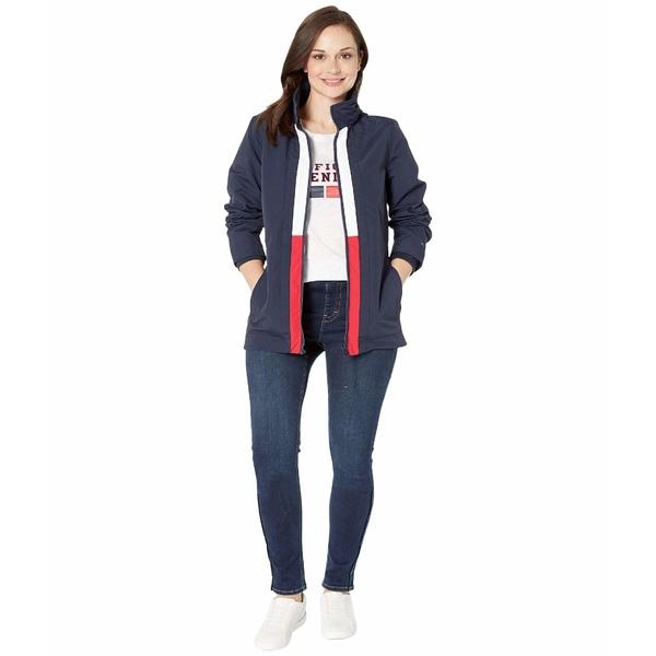 トミーヒルフィガー レディース コート アウター Windbreaker Jacket with Magnetic Zipper Masters Navy/Bright White/Tango Red