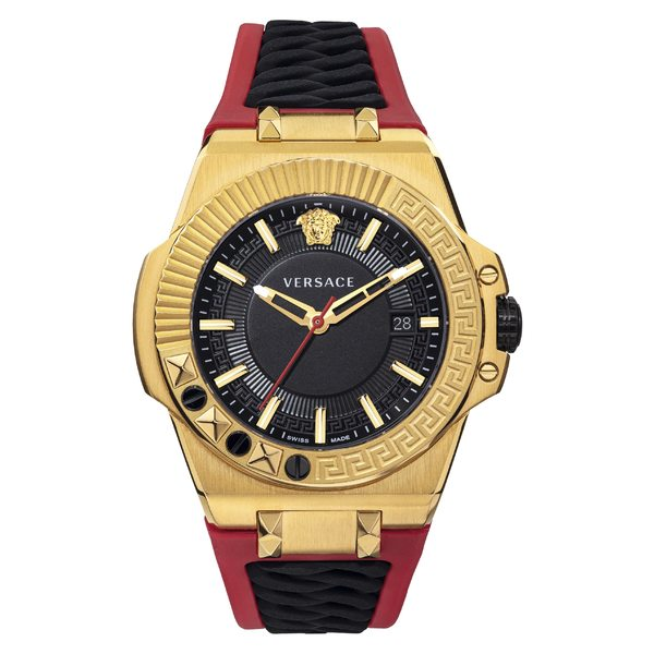 ヴェルサーチ メンズ 腕時計 アクセサリー Versace Chain Reaction Silicone Strap Watch, 45mm Red/ Black/ Gold