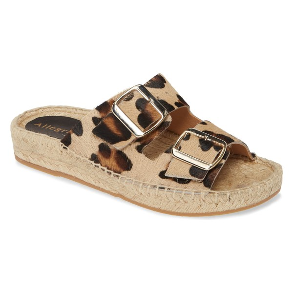 アレグラ ジェームス レディース サンダル シューズ Allegra James Sage Espadrille Slide Genuine Calf Hair Sandal (Women) Leopard Hair Calf