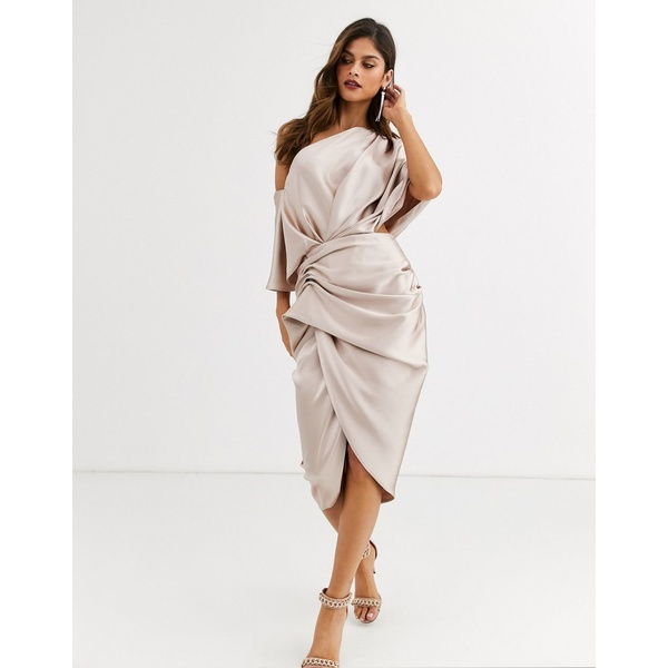エイソス レディース ワンピース トップス ASOS EDITION drape asymmetric midi dress in satin Blush