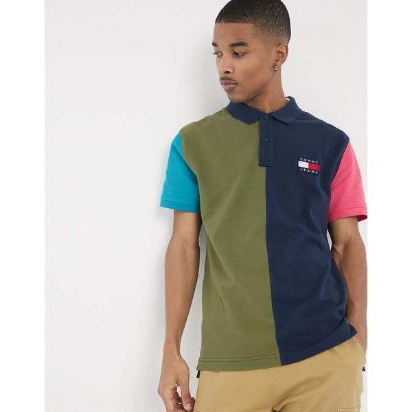 トミーヒルフィガー メンズ ポロシャツ トップス Tommy Jeans colorblock flag badge pique polo in multi Twilight navy / mult