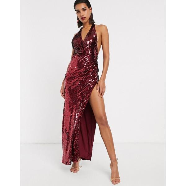 エイソス レディース ワンピース トップス ASOS EDITION plunge halter maxi dress in sequin Oxblood