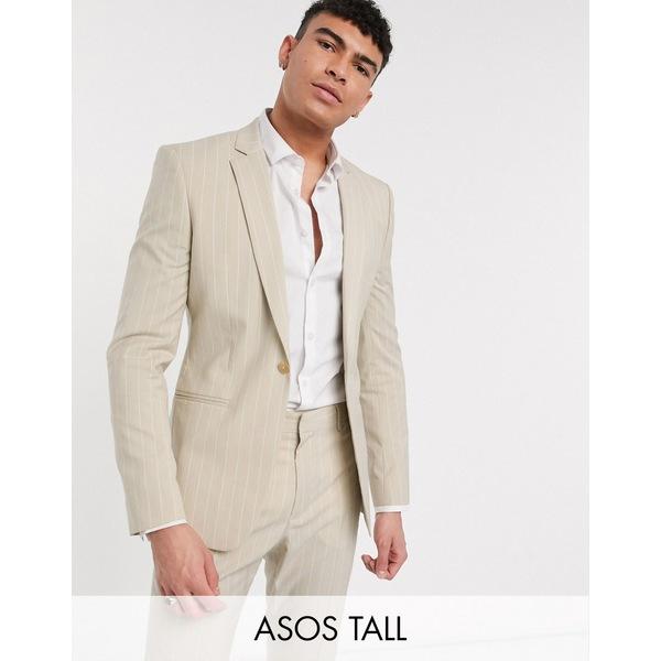 エイソス メンズ ジャケット&ブルゾン アウター ASOS DESIGN Tall skinny suit jacket in stone pinstripe Stone