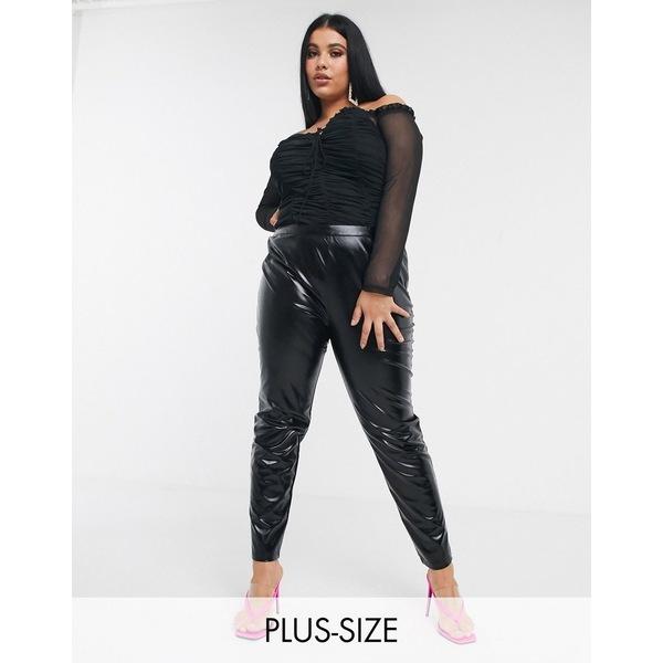 ユニーク21ヒーロー レディース カジュアルパンツ ボトムス Unique 21 faux leather pants in black Black