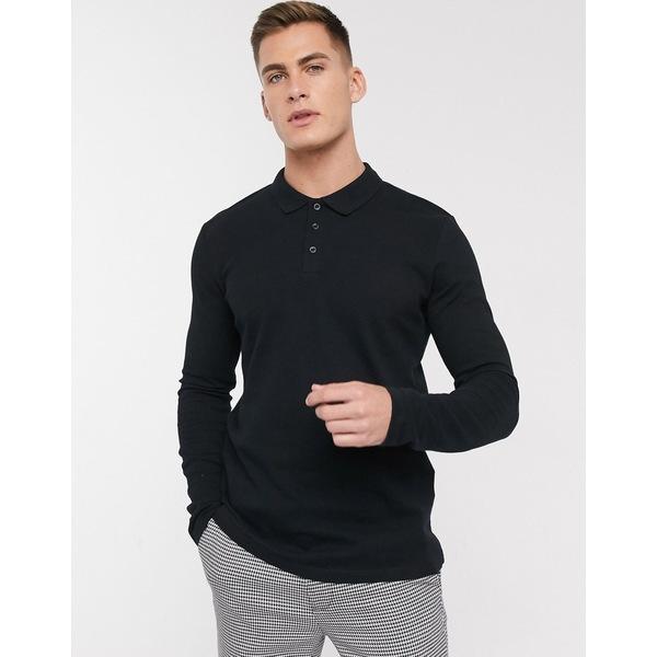 セレクテッドオム メンズ ポロシャツ トップス Selected Homme long sleeve polo shirt in black Black