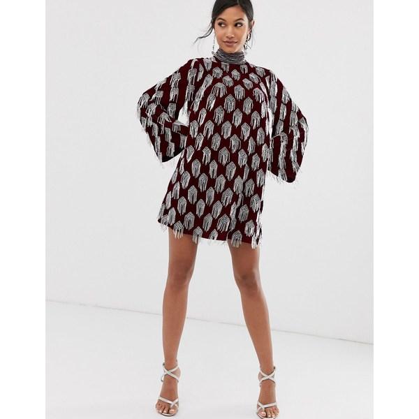 エイソス レディース ワンピース トップス ASOS EDITION beaded tassel velvet mini dress Oxblood