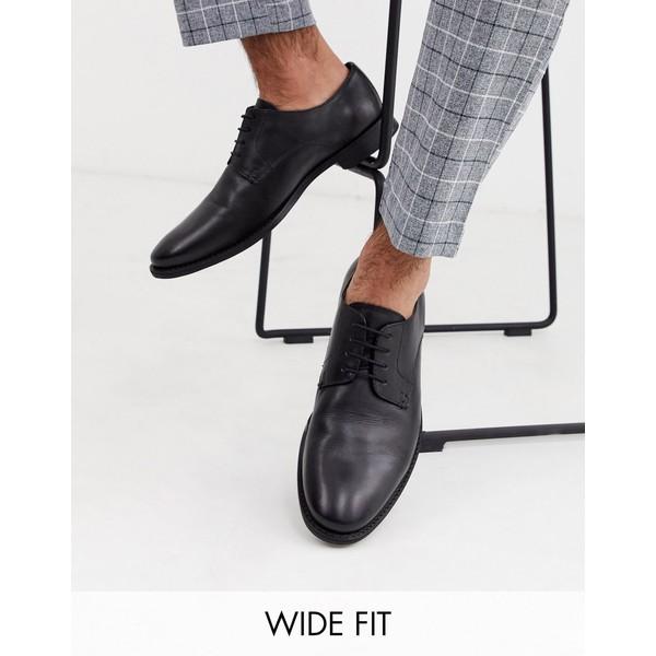 エイソス メンズ スニーカー シューズ ASOS DESIGN Wide Fit derby shoes in black leather Black