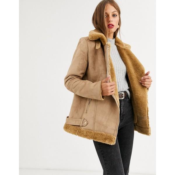ストラディバリウス レディース ジャケット&ブルゾン アウター Stradivarius aviator jacket in camel Camel