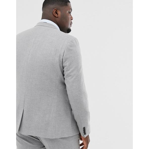 エイソス メンズ ジャケット&ブルゾン アウター ASOS DESIGN Plus wedding skinny suit jacket in gray twist micro texture Gray