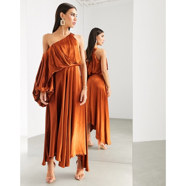 エイソス レディース ワンピース トップス ASOS EDITION blouson one shoulder dress in satin Rust