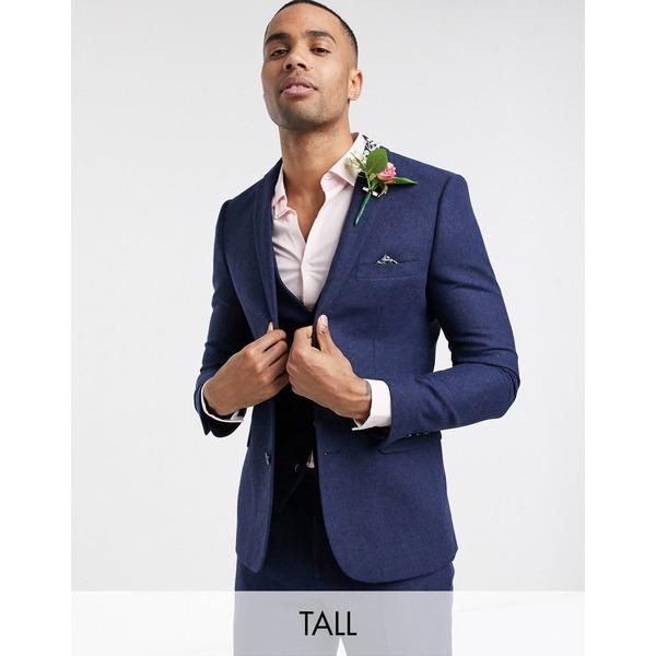 ハリー・ブラウン メンズ ジャケット&ブルゾン アウター Harry Brown Tall wedding tweed heritage suit jacket Navy