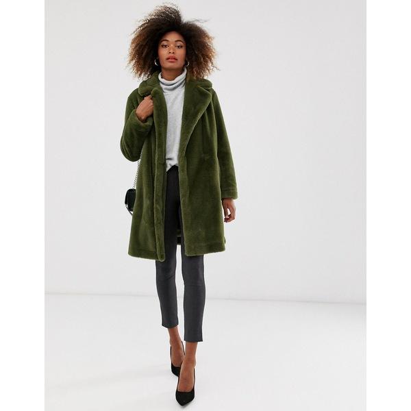 フレンチコネクション レディース コート アウター French Connection faux fur long coat Green