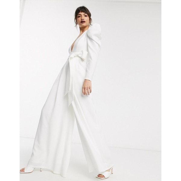 エイソス レディース ワンピース トップス ASOS EDITION plunge wide leg jumpsuit with open back White