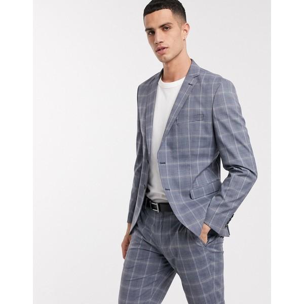 セレクテッドオム メンズ ジャケット&ブルゾン アウター Selected Homme slim fit stretch checked suit jacket in light blue Light blue