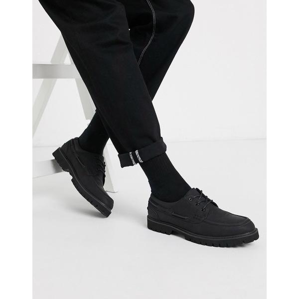 エイソス メンズ スニーカー シューズ ASOS DESIGN boat shoe in black faux suede on chunky sole Black