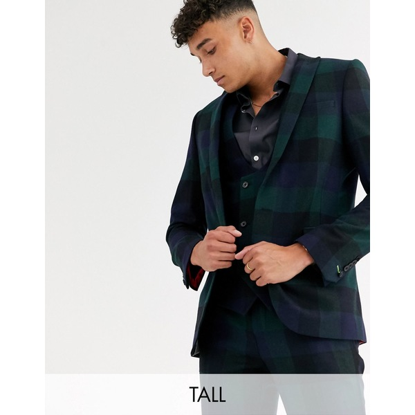 ツイステッドテイラー メンズ ジャケット&ブルゾン アウター Twisted Tailor Tall super skinny fit suit jacket in wide green check Green