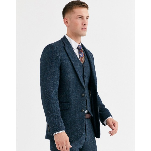 エイソス メンズ ジャケット&ブルゾン アウター ASOS DESIGN slim suit jacket in 100% wool Harris Tweed in blue herringbone Blue