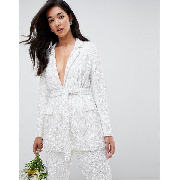 エイソス レディース ジャケット&ブルゾン アウター ASOS EDITION embellished blazer White