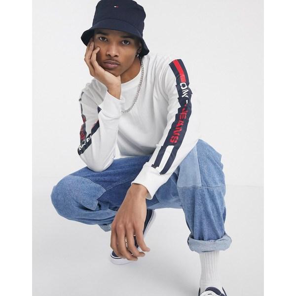 トミーヒルフィガー メンズ Tシャツ トップス Tommy Jeans flag logo branded side taping long sleeve top in white White
