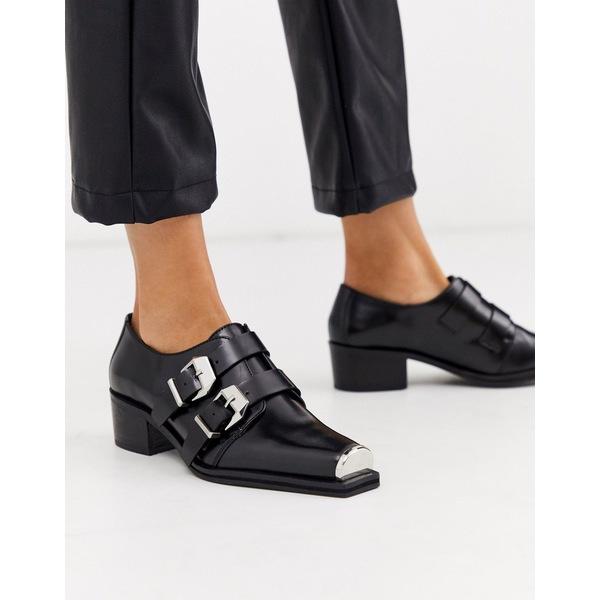 エイソス レディース スニーカー シューズ ASOS DESIGN Morning leather monk flat shoes in black Black